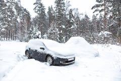 Voiture sale noire sous la neige en chutes de neige lourdes de forêt Voiture congelée en congère problèmes d'hiver pour mettre en image libre de droits