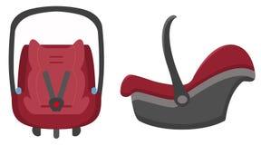 Voiture Seat noire et rouge, Front And Side Views Isolated d'enfant sur un fond blanc Illustration de vecteur Photo libre de droits