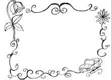 Voiture tirée par la main décorative de vintage et frontière et cadre floraux Photographie stock libre de droits