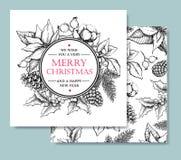 Voiture tirée par la main dirigez de Joyeux Noël et de bonne année vintage Images libres de droits