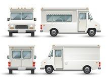 Voiture vide blanche de nourriture, camion commercial d'isolement illustration libre de droits