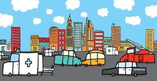 Voitures écrasées entourées en des véhicules de service illustration libre de droits