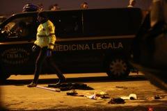Voitures brûlées dans l'accident Image libre de droits