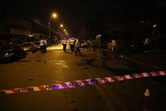 Voitures brûlées dans l'accident Photographie stock libre de droits