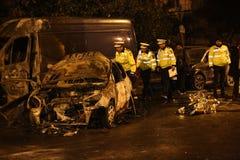 Voitures brûlées dans l'accident Images libres de droits