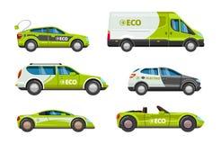 Voitures d'Eco Les véhicules électriques d'énergie alternative de puissance avec l'eco de vecteur de batterie de charge transport illustration libre de droits