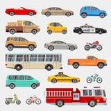 Voitures d'urbaines, de ville et icônes plates de vecteur de transport de véhicules réglées Photographie stock