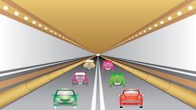 Voitures dans la trajectoire de tunnel Image libre de droits