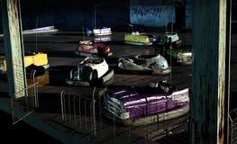 Voitures de butoir abandonnées Photographie stock libre de droits