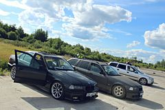 VOITURES DE DÉRIVE DE BMW E36 Photos libres de droits