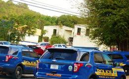 Voitures de police dans le croix de St nous les Îles Vierges Images libres de droits