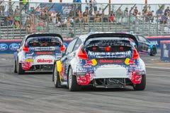 Voitures de rassemblement chez Red Bull GRC Rallycross global Image libre de droits