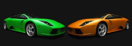Voitures de sport italiennes vertes et oranges. Photographie stock