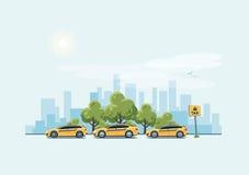 Voitures de taxi de stationnement et fond de ville illustration stock