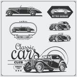 Voitures de vintage réglées Rétro garage de voitures Labels de voitures de muscle, emblèmes et éléments classiques de conception Image libre de droits