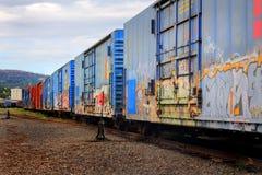 Voitures de wagons couverts avec le graffiti images libres de droits