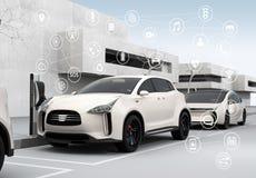 Voitures reliées et concept autonome de voitures Image libre de droits