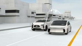 Voitures reliées et concept autonome de voitures illustration de vecteur