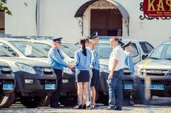 Voitures spéciales de policiers de Volynskaiy de cadeau des Polonais Photographie stock libre de droits