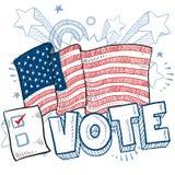 Voix américaine dans le croquis d'élection Photographie stock libre de droits