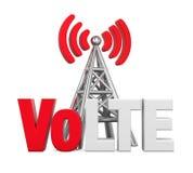 Voix au-dessus de signe de LTE avec l'antenne en métal d'isolement Photo stock