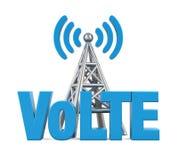 Voix au-dessus de signe de LTE avec l'antenne en métal d'isolement Photo libre de droits