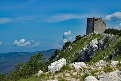 Vojak Summit at Istria. The summit of the mountain Vojak Istria Croatia with communication center stock images