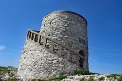 Vojak Summit at Istria. The summit of the mountain Vojak Istria Croatia with communication center royalty free stock photography