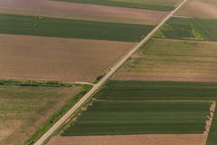 Vojvodina`s land from sky. Aerial view of a green rural area in Vojvodina, Serbia Stock Image