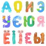 Vokaler av det Cyrillic alfabetet gillar havsinvånare Royaltyfri Foto