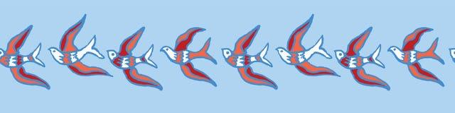 Volée des oiseaux pilotant la frontière sans couture de vecteur illustration stock