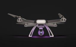Vol à télécommande moderne de bourdon d'air avec l'appareil-photo d'action Sur le fond noir 3d Photo libre de droits