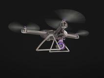 Vol à télécommande moderne de bourdon d'air avec l'appareil-photo d'action Sur le fond noir 3d Photos libres de droits