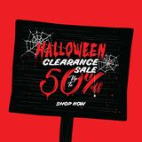 VOL. распродажи хеллоуина дизайн рубрики 2 50 процентов для запрета Стоковое Фото