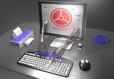 vol alerte d'identification d'ordinateur Images stock
