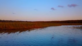 Vol au-dessus de beau lac Blagodatnoye entouré avec les forêts et les montagnes vertes sur le fond banque de vidéos