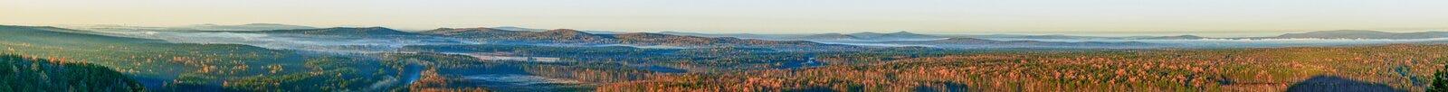 Vol au-dessus de forêt d'automne Photos stock
