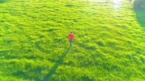 Vol au-dessus de l'homme sportif courant au pré rural parfait d'herbe verte tous terrains Coucher du soleil en montagne banque de vidéos