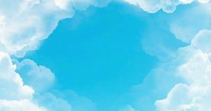 Vol au-dessus des nuages blancs sous le fond de ciel bleu, boucle sans couture prête illustration stock
