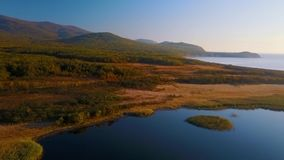 Vol au-dessus du beau lac Blagodatnoe, entouré d'ici été et forêt et montagnes d'automne à l'arrière-plan banque de vidéos