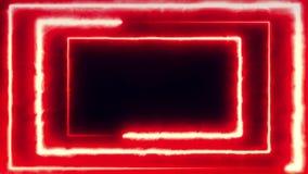 Vol au néon de bakcground par le rectangle au néon tournant rougeoyant edless créant un tunnel, spectre violet rose rouge bleu illustration libre de droits