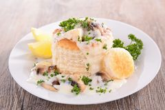 Vol au vent. With chicken and mushroom Stock Photos