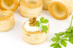Vol-au-vent with cream cheese and walnuts Royalty Free Stock Photography