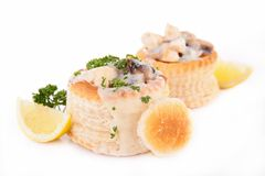 Vol au vent. Isolated on white Royalty Free Stock Photography
