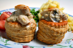Vol au vent meal pastry sauce Stock Photos
