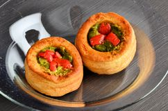 Vol-au-vent with mushroom and chicken, in a glass plate Royalty Free Stock Photography