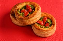 Vol-au-vent with mushroom and chicken, on a red paper Stock Photos