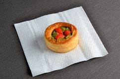 Vol-au-vent with mushroom and chicken, on white paper Royalty Free Stock Image