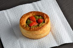 Vol-au-vent with mushroom and chicken, on white paper Stock Image