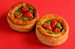 Vol-au-vent with mushroom and chicken, on a red paper Royalty Free Stock Photo